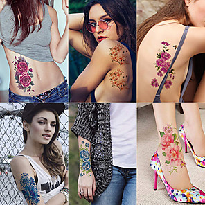 cheap Tattoo Stickers-6 Sheets Large Temporary Tattoos Flower Paper Sexy Body Tattoo Sticker for Women & Girl Fake Tattoo (Lily Peach Plum Peony)