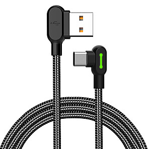 cheap Cell Phone Cables-MCDODO 90 Degree Elbow Gaming Cable Type-C Data Sync Charging Cord 1.2M