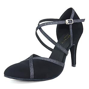 cheap Ballroom Shoes & Modern Dance Shoes-Women's Modern Shoes / Ballroom Shoes Synthetics Cross Strap Heel Sequin / Glitter Slim High Heel Customizable Dance Shoes Black / Performance