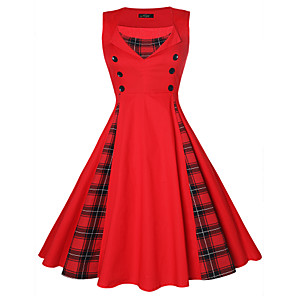 cheap Historical & Vintage Costumes-Vintage Inspired Dress Women's Spandex Costume Black / Red Vintage Cosplay 3/4-Length Sleeve