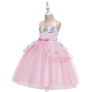 cheap Movie & TV Theme Costumes-Unicorn Dress Cosplay Costume Masquerade Girls' Movie Cosplay A-Line Slip Cosplay Halloween Pink / Blue / Beige Dress Halloween Children's Day Masquerade Tulle Poly / Cotton Blend