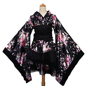 cheap Ethnic & Cultural Costumes-Maid Costume Adults' Women's Kimonos Outfits Japanese Traditional Kimono For Party Halloween Cosplay Costumes Tulle Faux Silk Halloween Carnival Masquerade Top Skirt Bow