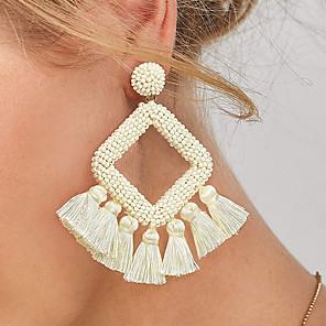 cheap Earrings-Women's Drop Earrings Tassel Weave Simple Luxury Oversized Resin Earrings Jewelry Black / Ash / Green For Stage Street Bar 1 Pair