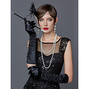 cheap Historical & Vintage Costumes-The Great Gatsby Charleston Vintage 1920s Roaring 20s Costume Accessory Sets Gloves Necklace Flapper Headband Women's Feather Costume Head Jewelry Scarf Necklace Pearl Necklace Black / White / Red