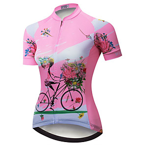cheap Cycling Jerseys-21Grams Floral Botanical Women's Short Sleeve Cycling Jersey - Pink Bike Jersey Top Breathable Moisture Wicking Quick Dry Sports Polyester Elastane Terylene Mountain Bike MTB Road Bike Cycling