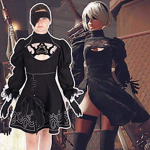 cheap Videogame Costumes-Inspired by NieR:Automata 2B Video Game Cosplay Costumes Cosplay Suits Print Short Sleeve Dress Costumes