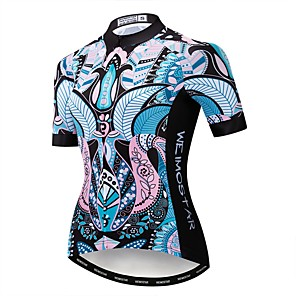 cheap Cycling Jerseys-21Grams Floral Botanical Women's Short Sleeve Cycling Jersey - Blue Bike Jersey Top Breathable Quick Dry Sports Polyester Elastane Terylene Mountain Bike MTB Road Bike Cycling Clothing Apparel