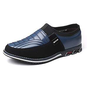 cheap Men's Slip-ons & Loafers-Men's Comfort Shoes Fall / Winter British / Preppy Daily Outdoor Loafers & Slip-Ons Leather Breathable Non-slipping Wear Proof Black / Blue / Brown Striped / Buckle