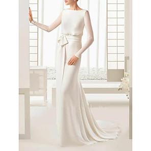 cheap Wedding Dresses-Sheath / Column Wedding Dresses Bateau Neck Sweep / Brush Train Floor Length Satin Tulle Long Sleeve Simple Elegant with Bow(s) Buttons 2020