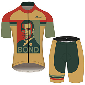 cheap Cycling Jersey & Shorts / Pants Sets-21Grams James Bond Men's Short Sleeve Cycling Jersey with Shorts - Black / Orange Bike Clothing Suit Breathable Quick Dry Moisture Wicking Sports 100% Polyester Mountain Bike MTB Clothing Apparel