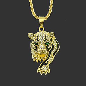 cheap Pendant Necklaces-Men's Pendant Necklace Long Necklace Classic Tiger Unique Design Fashion Gold Plated Chrome Gold Silver Hawk Golden Leopard Silver Leopard 75 cm Necklace Jewelry 1pc For Street