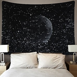 cheap Wall Tapestries-Wall Tapestry Art Decor Blanket Curtain Picnic Tablecloth Hanging Home Bedroom Living Room Dorm Decoration Galaxy Space Star Moon Constellations Astrology Black and White