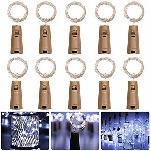 cheap LED String Lights-LOENDE Barisc Wine Bottle Lights with Cork 10 Packs LED Fairy Lights Battery 20 LEDs Silver Copper Wire Waterproof