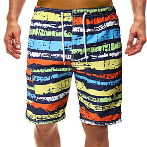 cheap Wetsuits, Diving Suits & Rash Guard Shirts-Men's Swim Shorts Swim Trunks Board Shorts UV Sun Protection Quick Dry Drawstring - Swimming Beach Water Sports Stripes Patchwork Autumn / Fall Spring Summer