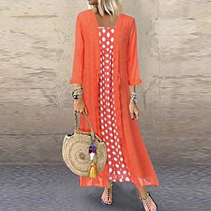 cheap Historical & Vintage Costumes-Women's Two Piece Dress Maxi long Dress - Long Sleeve Polka Dot Print Spring & Summer Casual Vacation Loose 2020 Black Blushing Pink Orange M L XL XXL XXXL XXXXL XXXXXL