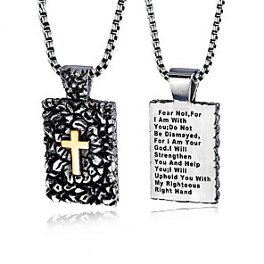 cheap Pendant Necklaces-Men's Pendant Necklace Engraved Cross Faith Classic Inspirational Titanium Steel Silver 55 cm Necklace Jewelry 1pc For Gift School Street Club Promise