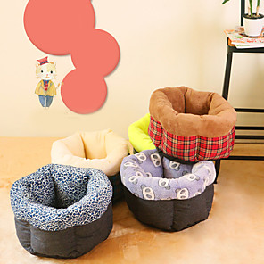cheap Cat Beds & Carriers-Dog Cat Cages Bed Beds Cotton Pet Mats & Pads Stripes Flower / Floral Stars Warm Cute Casual / Daily Stripe Leopard Purple