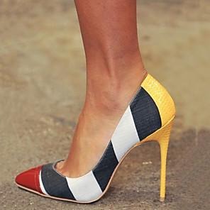 cheap Women's Heels-Women's Heels Stiletto Heel Pointed Toe PU Spring &  Fall Yellow / Color Block