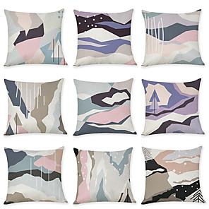 cheap Pillow Covers-9 pcs Linen Pillow Cover, Abstract Geometic Modern Boho Throw Pillow