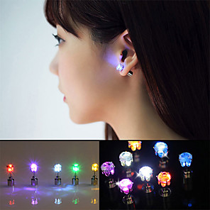 cheap LED String Lights-2pcs LED Earring Light Up Crown Glowing Crystal Stainless Ear Drop Ear Stud Earring Jewelry for Dance/Xmas/KTV Party Women Girl