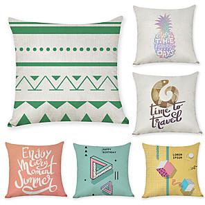 cheap Pillow Covers-6 pcs Linen Pillow Cover, Geometric Pattern Geometic Leisure Fashion Throw Pillow
