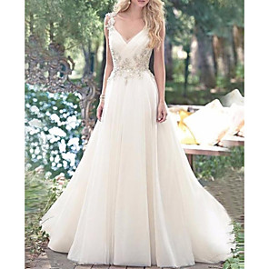 cheap Prom Dresses-A-Line Wedding Dresses V Neck Sweep / Brush Train Lace Tulle Spaghetti Strap Romantic Sexy Sparkle & Shine Backless with Criss Cross Appliques 2020