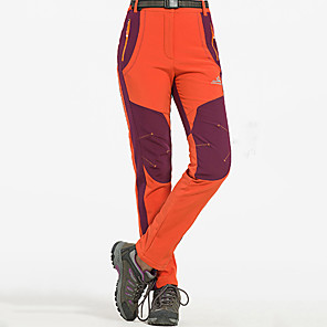 cheap Softshell, Fleece & Hiking Jackets-Women's Hiking Pants Softshell Pants Winter Outdoor Waterproof Windproof Fleece Lining Breathable Softshell Pants / Trousers Bottoms Army Green Burgundy Orange Camping / Hiking Hunting Fishing S M L