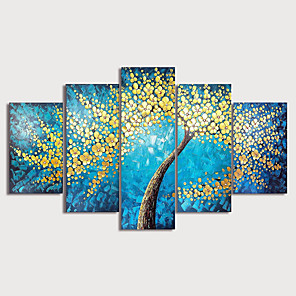 cheap Prints-Oil Painting Hand Painted - Floral / Botanical Modern Stretched Canvas / Five Panels