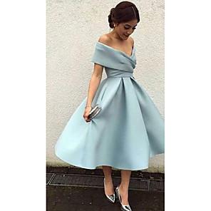 cheap Coaster Favors-A-Line Elegant Blue Cocktail Party Formal Evening Dress V Neck Short Sleeve Tea Length Matte Satin with Pleats 2020