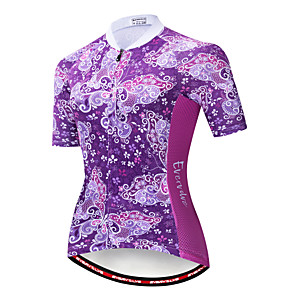 cheap Cycling Jerseys-EVERVOLVE Floral Botanical Women's Short Sleeve Cycling Jersey - Lavender Bike Jersey Top Breathable Moisture Wicking Quick Dry Sports Cotton Polyster Lycra Mountain Bike MTB Road Bike Cycling