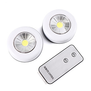 cheap LED Cabinet Lights-Wireless Remote Control LED Night Light Under Cabinet Lighting 2 piece Cabinet Light Battery Powered Light indoor Wall Lamp