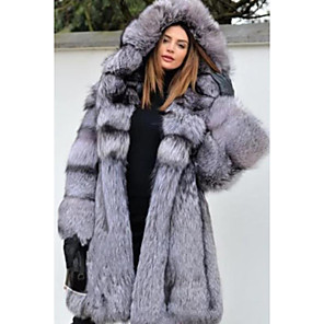 cheap Wedding Wraps-Long Sleeve Coats / Jackets Faux Fur Wedding Women's Wrap With Cap / Fur