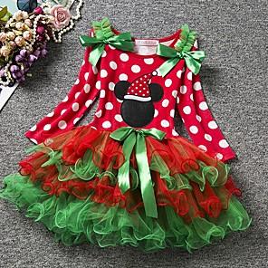 cheap Clearance-Baby Girls' Basic Polka Dot Christmas Long Sleeve Dress Red / Toddler