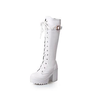 cheap Women's Boots-Women's Boots Chunky Heel Round Toe PU Mid-Calf Boots Fall & Winter Black / White