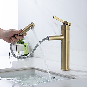 cheap Classical-Bathroom Sink Faucet - Pullout Spray Brushed Gold Centerset Single Handle One HoleBath Taps