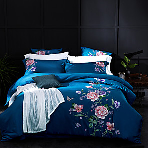 cheap Solid Duvet Covers-Duvet Cover Sets Solid Color Floral / Botanical 100% Egyptian Cotton Reactive Print Embroidery Quilted 4 Piece Bedding Set With Pillowcase Bed Linen Sheet Single Double Queen King Size Quilt Covers Be