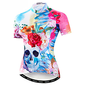 cheap Cycling Jerseys-21Grams Sugar Skull Women's Short Sleeve Cycling Jersey - Pink Bike Jersey Top Breathable Moisture Wicking Quick Dry Sports Polyester Elastane Terylene Mountain Bike MTB Road Bike Cycling Clothing