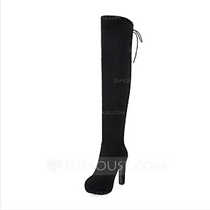 cheap Women's Sandals-Women's Boots Over-The-Knee Boots Nubuck leather Over The Knee Boots Comfort / Fashion Boots Fall / Winter Black / Red / Gray / EU42