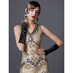cheap Movie & TV Theme Costumes-The Great Gatsby Charleston 1920s Roaring Twenties Summer Flapper Dress Women's Sequins Costume Black / Emerald Green / Black / Red Vintage Cosplay Party Prom Sleeveless Knee Length