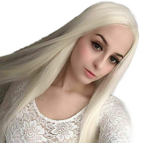 cheap Synthetic Lace Wigs-Synthetic Lace Front Wig Straight Side Part Lace Front Wig Blonde Long Platinum Blonde Synthetic Hair 18-26 inch Women's Adjustable Heat Resistant Party Blonde