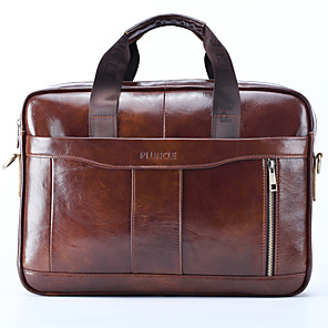 cheap Men's Bags-Men's Zipper Nappa Leather / Cowhide Briefcase Solid Color Black / Brown / Fall & Winter