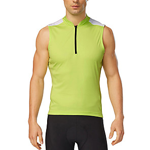 cheap Cycling Jerseys-21Grams Solid Color Men's Sleeveless Cycling Jersey - Yellow Bike Jersey Top Breathable Quick Dry Sweat-wicking Sports Terylene Mountain Bike MTB Road Bike Cycling Clothing Apparel / Micro-elastic
