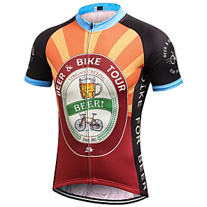 cheap Cycling Jerseys-21Grams Men's Short Sleeve Cycling Jersey Black / Orange Retro Novelty Oktoberfest Beer Bike Jersey Top Mountain Bike MTB Road Bike Cycling Breathable Quick Dry Moisture Wicking Sports Clothing