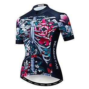 cheap Cycling Jerseys-21Grams Skull Floral Botanical Women's Short Sleeve Cycling Jersey - Rough Black Bike Jersey Top Breathable Quick Dry Sports Polyester Elastane Terylene Mountain Bike MTB Road Bike Cycling Clothing