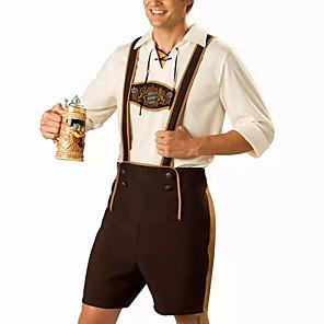 cheap Halloween & Carnival Costumes-Halloween Carnival Oktoberfest Beer Trachtenkleider Men's Top Pants Hat Bavarian Costume Coffee