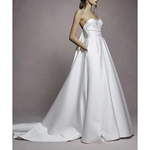 cheap Wedding Dresses-A-Line Wedding Dresses Sweetheart Neckline Sweep / Brush Train Satin Strapless Simple Plus Size with Draping 2020