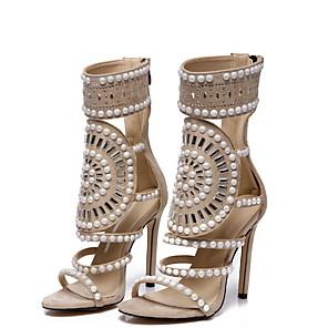 abordables Tacones de Mujer-Mujer Sandalias Zapatos Sexy Verano Tacón Stiletto Punta abierta Sensual Diario Cuentas Un Color Ante Paseo Almendra / Negro