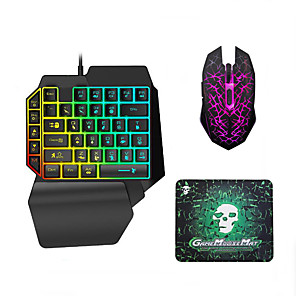 cheap Gaming Headsets-LITBest USB Wired Single Handed Gaming Keyboard Backlit Illuminous Keys with Wrist Breathing Lights Mouse and Pad Combos 3 Pieces a Kit