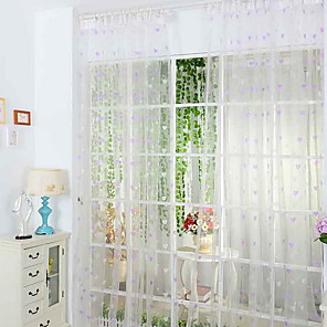 cheap Wall Stickers-Leaves Sheer One Panel Sheer Bedroom   Curtains
