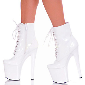 cheap Women's Sandals-Women's Boots Stiletto Heel Round Toe PU Booties / Ankle Boots British Fall & Winter Black / White / Party & Evening